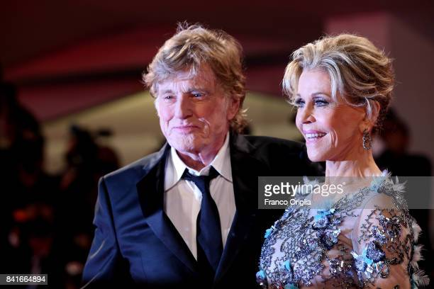Jane Fonda and Robert Redford walk the red carpet ahead of the 'Our Souls At Night' screening during the 74th Venice Film Festival at Sala Grande on...