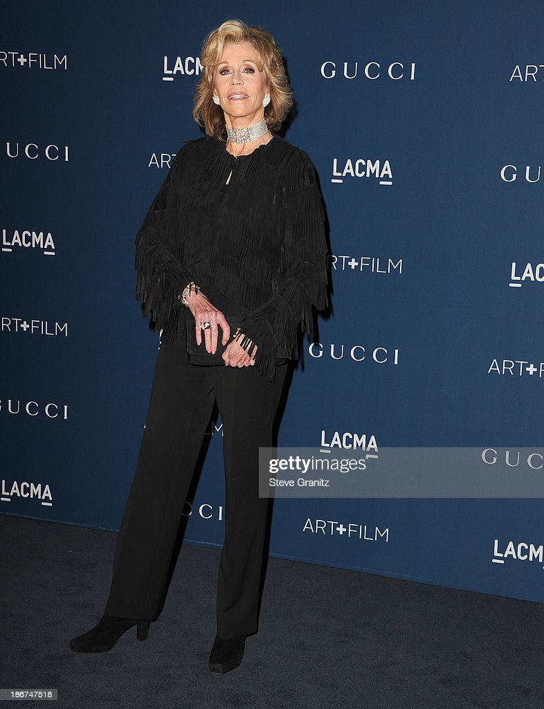 <a gi-track='captionPersonalityLinkClicked' href=/galleries/search?phrase=Jane+Fonda&family=editorial&specificpeople=202174 ng-click='$event.stopPropagation()'>Jane Fonda</a> arrives at the LACMA 2013 Art + Film Gala at LACMA on November 2, 2013 in Los Angeles, California.