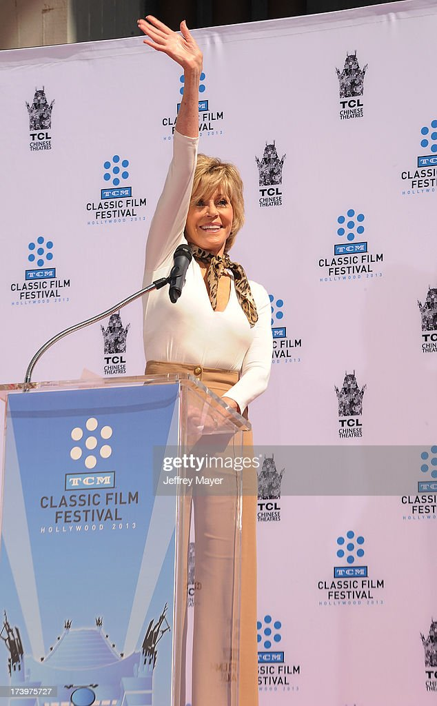 Jane Fonda attends actress Jane Fonda's Handprint/Footprint Ceremony during the 2013 TCM Classic Film Festival at TCL Chinese Theatre on April 27, 2013 in Los Angeles, California.