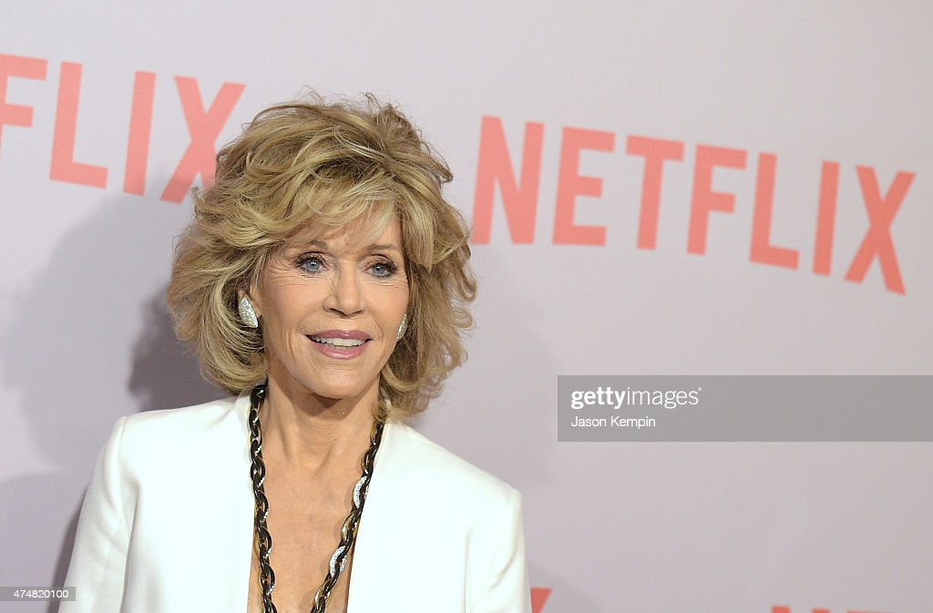 <a gi-track='captionPersonalityLinkClicked' href=/galleries/search?phrase=Jane+Fonda&family=editorial&specificpeople=202174 ng-click='$event.stopPropagation()'>Jane Fonda</a> attends Netflix's 'Grace & Frankie' Q&A Screening Event at Pacific Design Center on May 26, 2015 in West Hollywood, California.