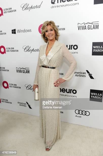 Jane Fonda attends the 22nd Annual Elton John AIDS Foundation Academy Awards viewing party with Chopard at the City of West Hollywood Park on March 2...