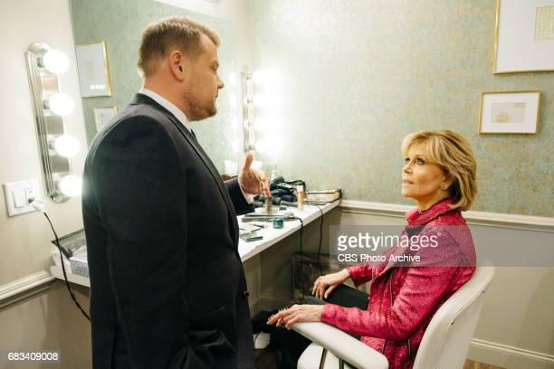 Jane Fonda chats in the green room with James Corden during 'The Late Late Show with James Corden' Wednesday May 3 2017 On The CBS Television Network