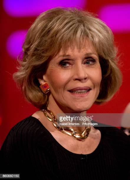 Jane Fonda during filming of the Graham Norton Show at the London Studios to be aired on BBC One on Friday evening