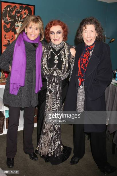 Jane Fonda Glenn Close as 'Norma Desmond' and Lily Tomlin pose backstage at the hit musical 'Sunset Boulevard' on Broadway at The Palace Theatre on...