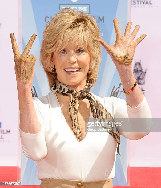 Jane Fonda hand and footprints immortalized in cement at TCL Chinese Theatre on April 27 2013 in Hollywood California