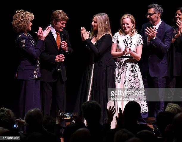 Jane Fonda honoree Robert Redford Barbra Streisand Elisabeth Moss John Turturro and Laura Poitras speak onstage at the 42nd Chaplin Award Gala at...