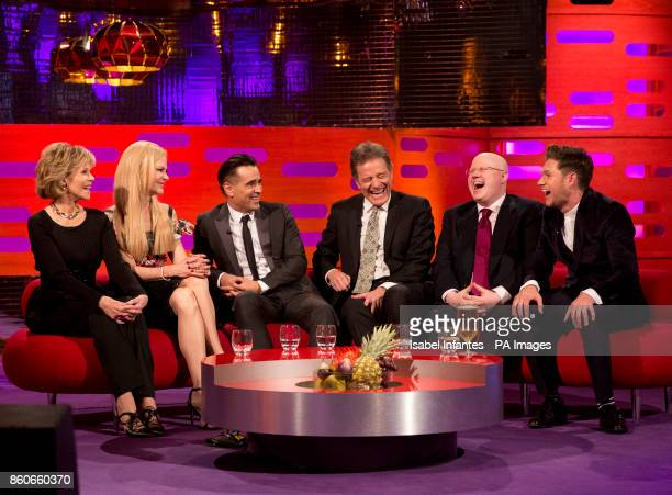 Jane Fonda Nicole Kidman Colin Farrell Bryan Cranston Matt Lucas and Niall Horan during filming of the Graham Norton Show at the London Studios to be...
