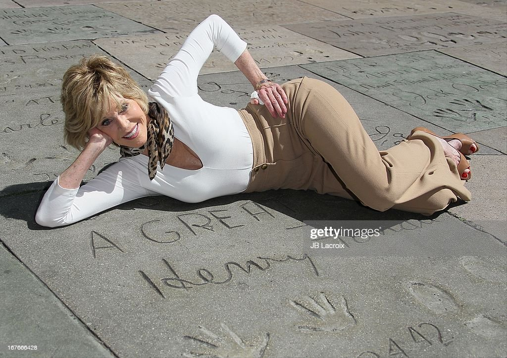 Jane Fonda poses during her Handprint/Footprint Ceremony during the 2013 TCM Classic Film Festival at TCL Chinese Theatre on April 27, 2013 in Hollywood, California.