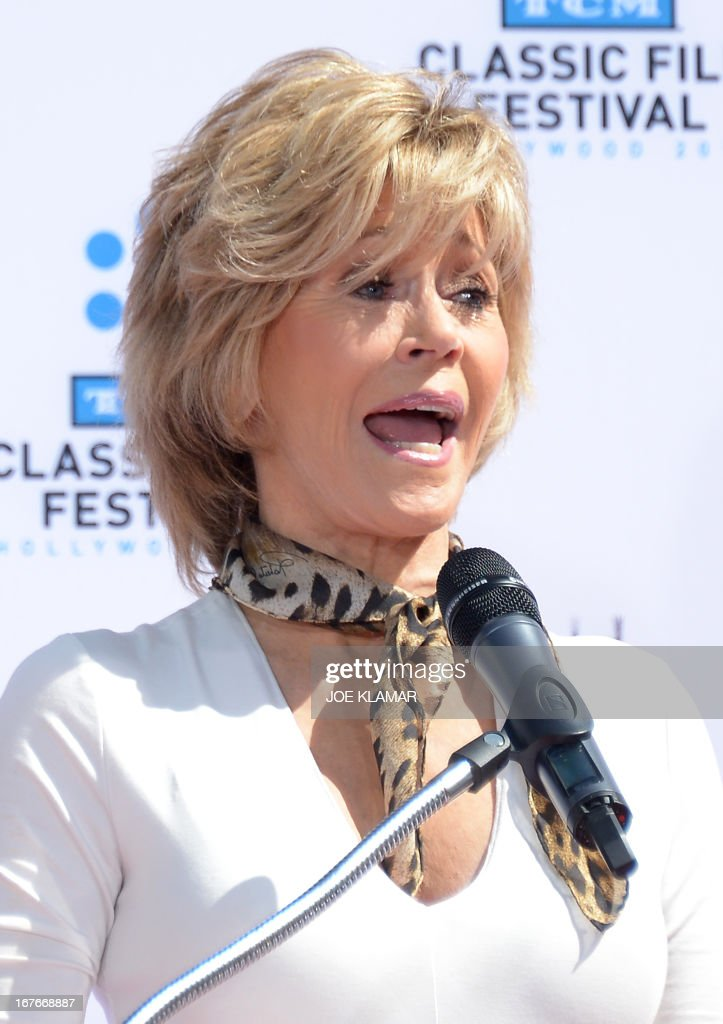 Jane Fonda speaks during her Handprint/Footprint Ceremony during the 2013 TCM Classic Film Festival at TCL Chinese Theatre on April 27, 2013 in Los Angeles. Fonda is an American actress, writer, political activist, former fashion model, and fitness guru. She rose to fame in the 1960s with films such as Barbarella and Cat Ballou. She has won two Academy Awards, an Emmy Award, three Golden Globes and received several other movie awards and nominations during more than 50 years as an actress. After 15 years of retirement, she returned to film in 2005 with Monster-in-Law, followed by Georgia Rule two years later. She also produced and starred in over 20 exercise videos released between 1982 and 1995, and once again in 2010.