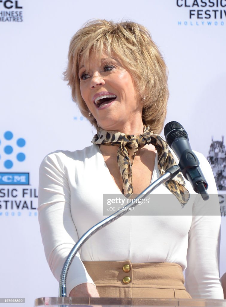 Jane Fonda speaks during her Handprint/Footprint Ceremony during the 2013 TCM Classic Film Festival at TCL Chinese Theatre on April 27, 2013 in Los Angeles,. Fonda is an American actress, writer, political activist, former fashion model, and fitness guru. She rose to fame in the 1960s with films such as Barbarella and Cat Ballou. She has won two Academy Awards, an Emmy Award, three Golden Globes and received several other movie awards and nominations during more than 50 years as an actress. After 15 years of retirement, she returned to film in 2005 with Monster-in-Law, followed by Georgia Rule two years later. She also produced and starred in over 20 exercise videos released between 1982 and 1995, and once again in 2010.