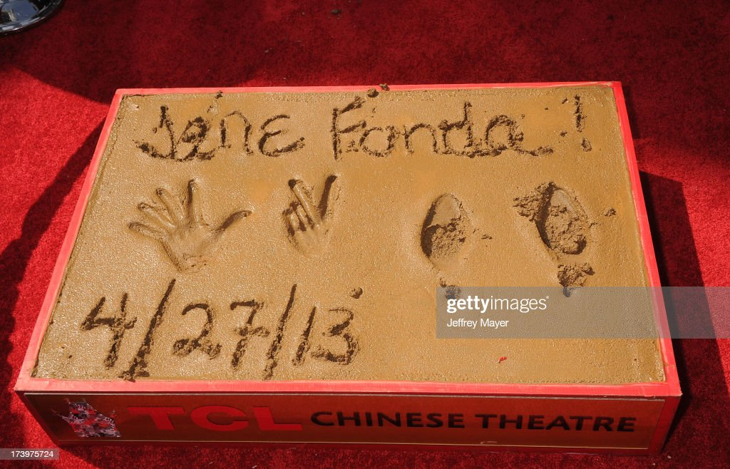 Jane Fonda's hand and footprints in cement at actress Jane Fonda's Handprint/Footprint Ceremony during the 2013 TCM Classic Film Festival at TCL Chinese Theatre on April 27, 2013 in Los Angeles, California.
