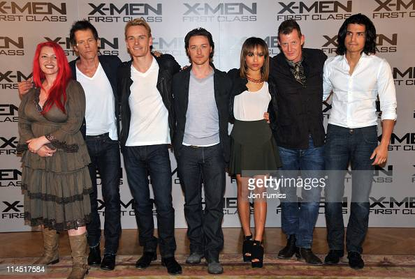 Jane Goldman Kevin Bacon Michael Fassabender James McAvoy Zoe Kravtiz Jason Flemyng and and Alex Gonzalez promote the new film 'XMen First Class' at...