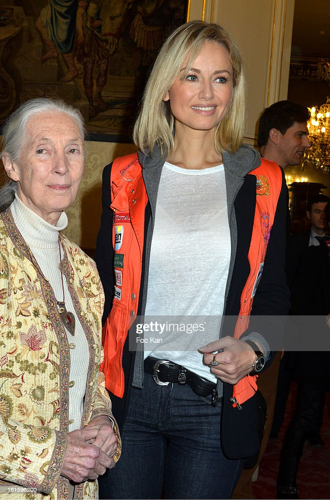 <a gi-track='captionPersonalityLinkClicked' href=/galleries/search?phrase=Jane+Goodall&family=editorial&specificpeople=224034 ng-click='$event.stopPropagation()'>Jane Goodall</a> and <a gi-track='captionPersonalityLinkClicked' href=/galleries/search?phrase=Adriana+Karembeu&family=editorial&specificpeople=207098 ng-click='$event.stopPropagation()'>Adriana Karembeu</a> attend the Rallye Aicha des Gazelles du Maroc' 2013 - Press Conference at Palais du Luxembourg on February 12, 2013 in Paris, France.