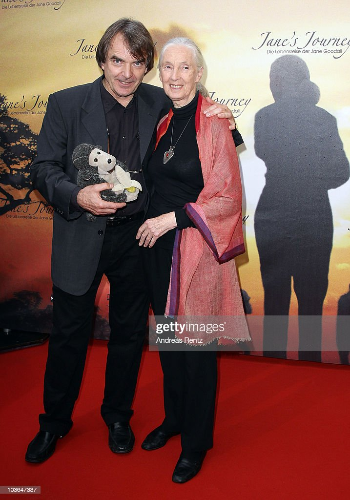 Jane Goodall and director Lorenz Knauer arrive for Jane's Journey (Die Lebensreise der Jane Goodall) Germany premiere at Astor Film Lounge on August 26, 2010 in Berlin, Germany.