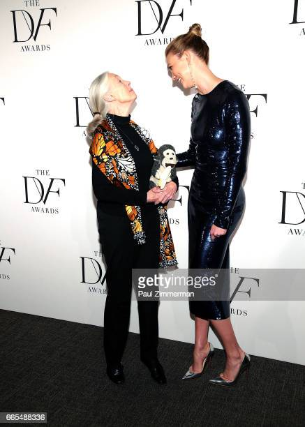 Jane Goodall and Karlie Kloss attend the 2017 DVF Awards at United Nations on April 6 2017 in New York City