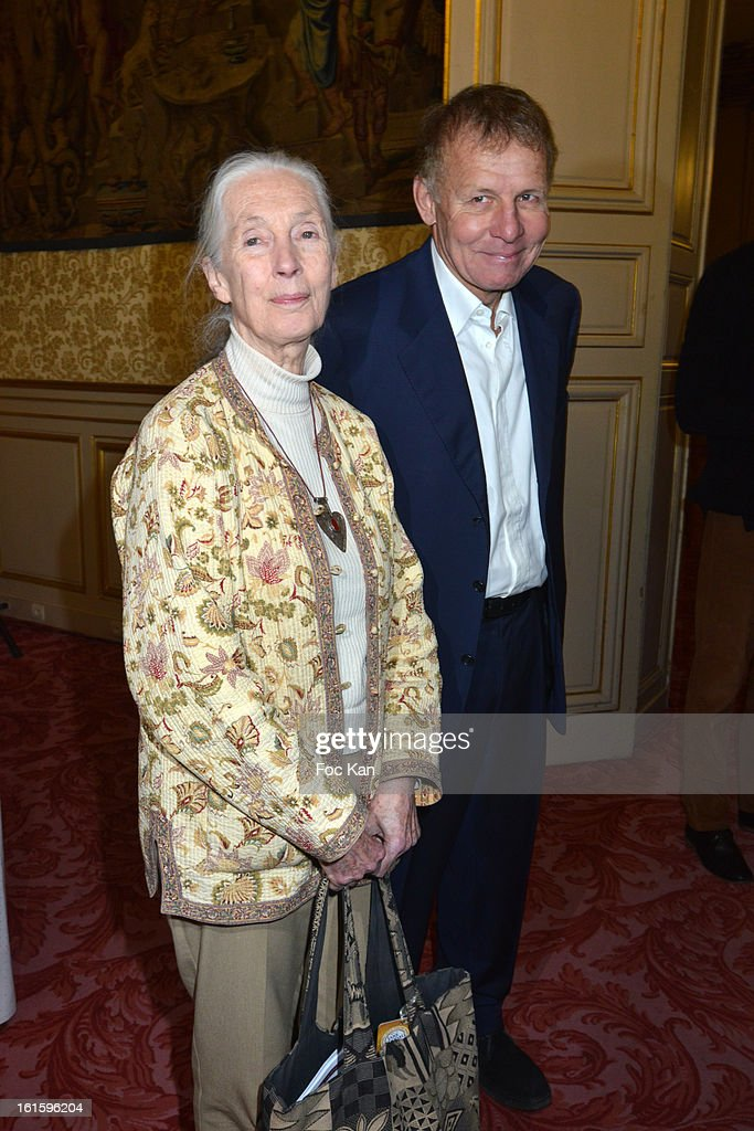 <a gi-track='captionPersonalityLinkClicked' href=/galleries/search?phrase=Jane+Goodall&family=editorial&specificpeople=224034 ng-click='$event.stopPropagation()'>Jane Goodall</a> and Patrick Poivre d'Arvor attend the Rallye Aicha des Gazelles du Maroc' 2013 - Press Conference at Palais du Luxembourg on February 12, 2013 in Paris, France.