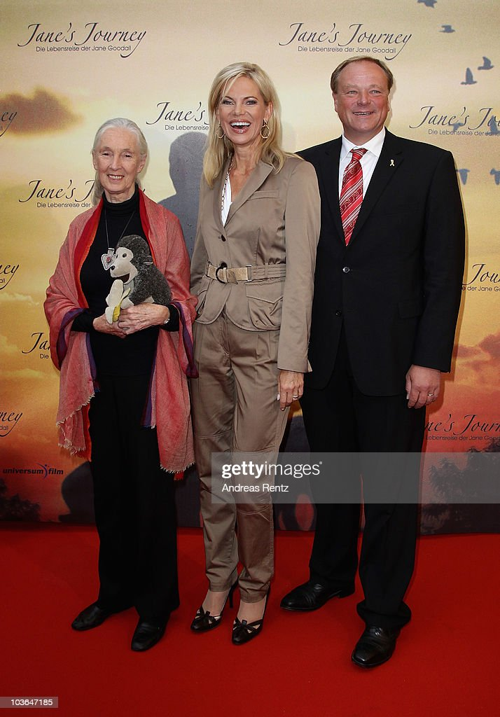 Jane Goodall, Nina Ruge and German Development Minister Dirk Niebel attend Jane's Journey (Die Lebensreise der Jane Goodall) Germany premiere at Astor Film Lounge on August 26, 2010 in Berlin, Germany.