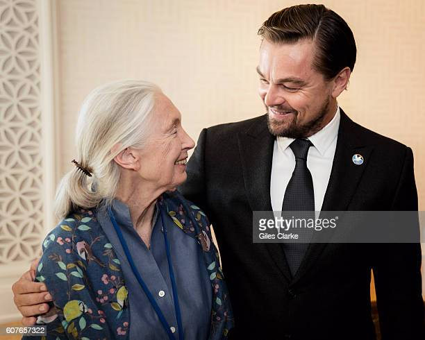 Jane Goodall UN Messengers of Peace and Oscar awarded actor Leonardo DiCaprio at the General Assembly before the United Nations Peace Bell Ceremony...
