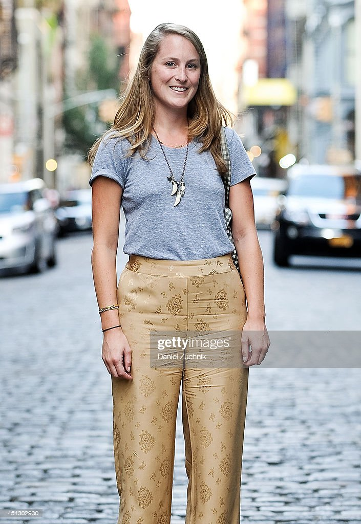 Jane Gray is seen around Soho wearing an American Apparel top and Phillip Lim pants on August 28, 2014 in New York City.
