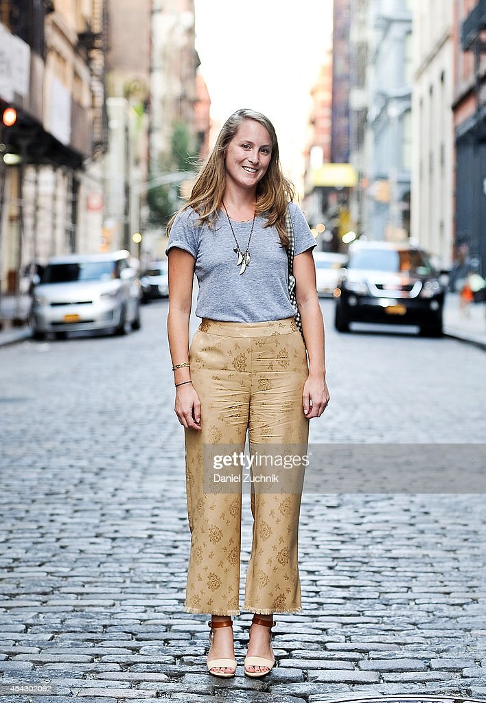 Jane Gray is seen around Soho wearing an American Apparel top, Phillip Lim pants and Chloe shoes on August 28, 2014 in New York City.