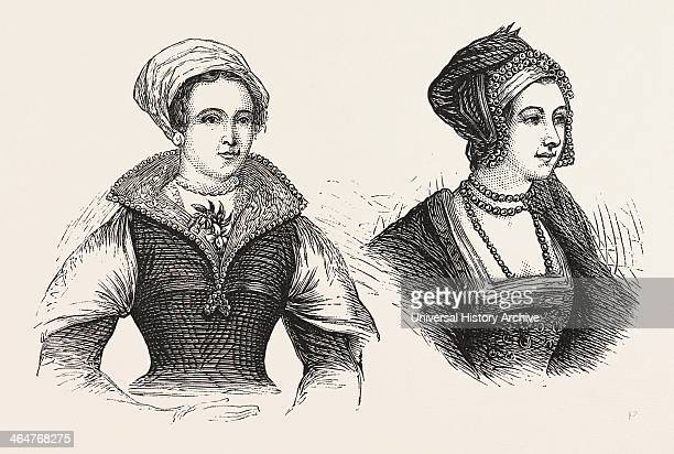 Jane Grey And Anne Boleyn Prisoners In The Tower London Engraving 1876 UK Britain British Europe United Kingdom Great Britain European