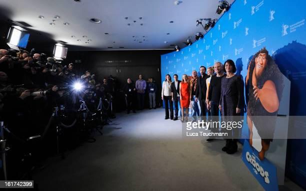 Jane Hartwell Kostja Ullmann Janin Reinhardt Uwe Ochsenknecht Nicolas Cage Emma Stone Kirk De Micco Chris Sanders and Kristine Belson attend the 'The...