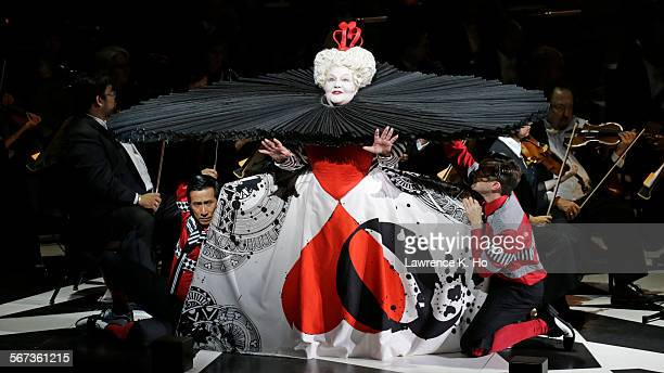 FEB 25 2015 Jane Henschel as Queen of Hearts and cast members in 'Alice in Wonderland' with Susanna MŠlkki conducting the LA Phil at Walt Disney...