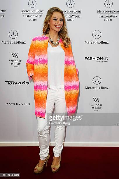 Jane Julie Kilka attends the Marc Cain show during the MercedesBenz Fashion Week Berlin Autumn/Winter 2015/16 at Brandenburg Gate on January 20 2015...