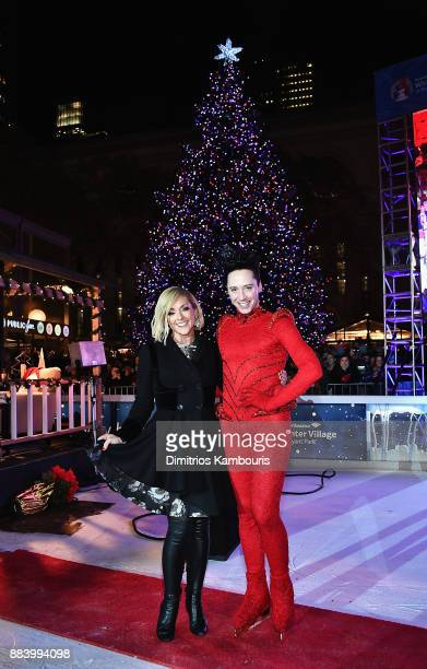 Jane Krakowski and Johnny Weir attend the Bank of America Winter Village at Bryant Park's Annual Tree Lighting Skatetacular on December 1 2017 in New...