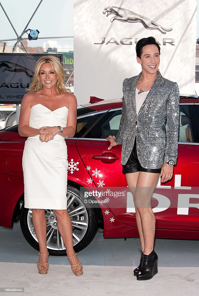 Jane Krakowski (L) and Johnny Weir attend the opening of Jaguar's 'Chill NY' at High Line Park on August 16, 2012 in New York City.