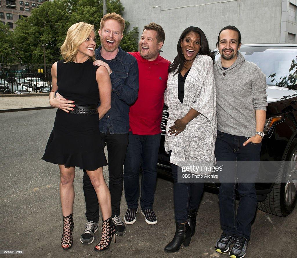Jane Krakowski Jesse Tyler Ferguson Audra McDonald and LinManuel Miranda join James Corden for Carpool Karaoke on 'The Late Late Show with James...