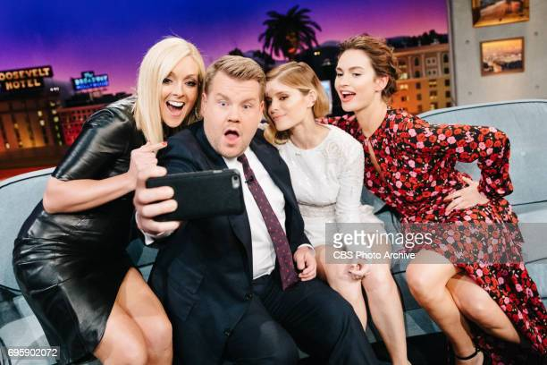 Jane Krakowski Kate Mara and Lily James chat with James Corden during 'The Late Late Show with James Corden' Tuesday June 13 2017 On The CBS...