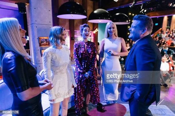Jane Krakowski Kate Mara Lily James and Iggy Azalea chat with James Corden during 'The Late Late Show with James Corden' Tuesday June 13 2017 On The...