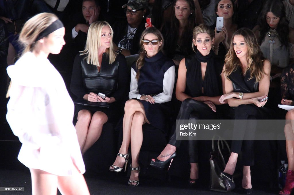 Jane Krakowski, Olivia Palermo, Ashley Greene and Katie Cassidy front row at the Kaufmanfranco show during Spring 2014 Mercedes-Benz Fashion Week at The Theatre at Lincoln Center on September 9, 2013 in New York City.