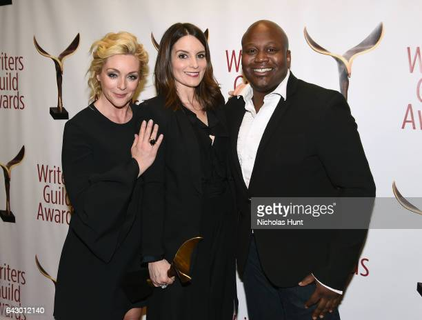 Jane Krakowski Tina Fey and Tituss Burgess pose backstage with award during 69th Writers Guild Awards New York Ceremony at Edison Ballroom on...