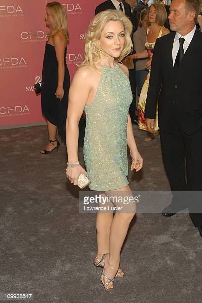 Jane Krakowski wearing a Michael Kors dress during The 2003 CFDA Fashion Awards Arrivals at New York Public Library in New York City New York United...