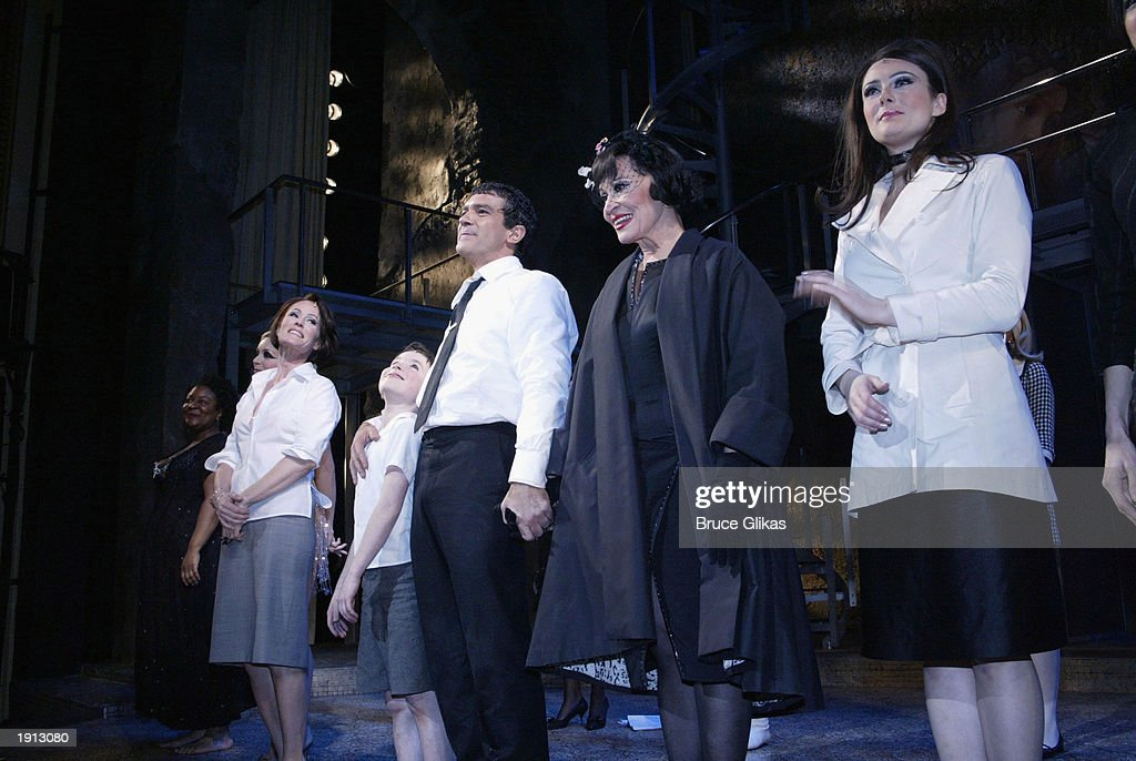 Jane Krakowski William Ullrich Antonio Banderas Chita Rivera and Laura Benanti take their Curtain Call at the Opening Night for The Roundabout...
