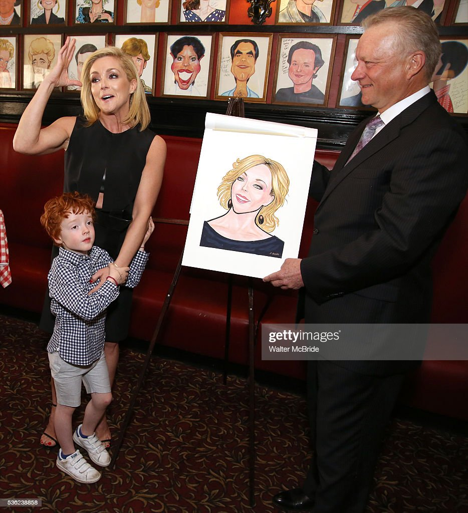 Jane Krakowski with son Bennett Robert Godley and Max Klimavicius attend the Jane Krakowski Sardi's portrait unveiling at Sardi's on May 31, 2016 in New York City.