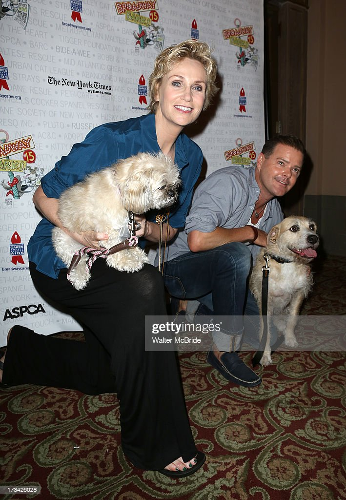 <a gi-track='captionPersonalityLinkClicked' href=/galleries/search?phrase=Jane+Lynch&family=editorial&specificpeople=663918 ng-click='$event.stopPropagation()'>Jane Lynch</a> and Clarke Thorell backstage during Broadway Barks 15 in Shubert Alley on July 13, 2013 in New York City.