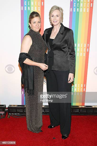 Jane Lynch and Elizabeth Dickey arrive at the 37th Annual Kennedy Center Honors at the John F Kennedy Center for the Performing Arts on December 7...