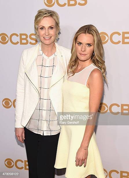 Jane Lynch and Maggie Lawson attend the 2015 CBS Upfront at The Tent at Lincoln Center on May 13 2015 in New York City