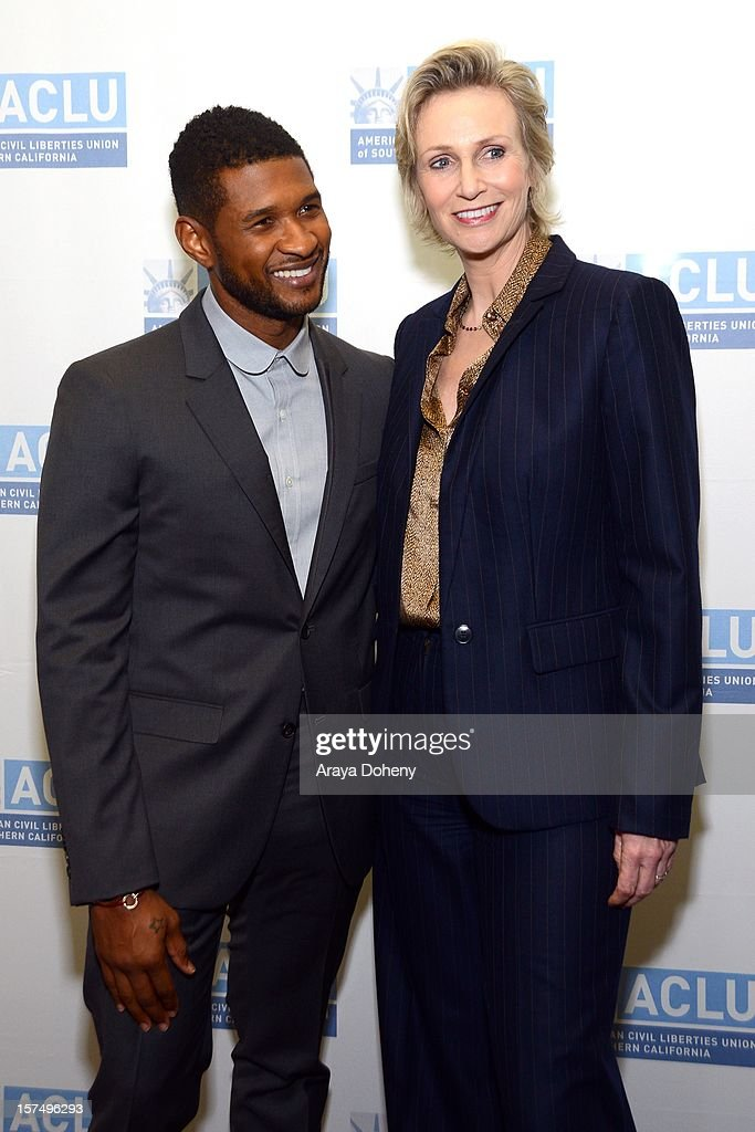 Jane Lynch and Usher attend the ACLU of Southern California's 2012 Bill of Rights Dinner at the Beverly Wilshire Four Seasons Hotel on December 3, 2012 in Beverly Hills, California.
