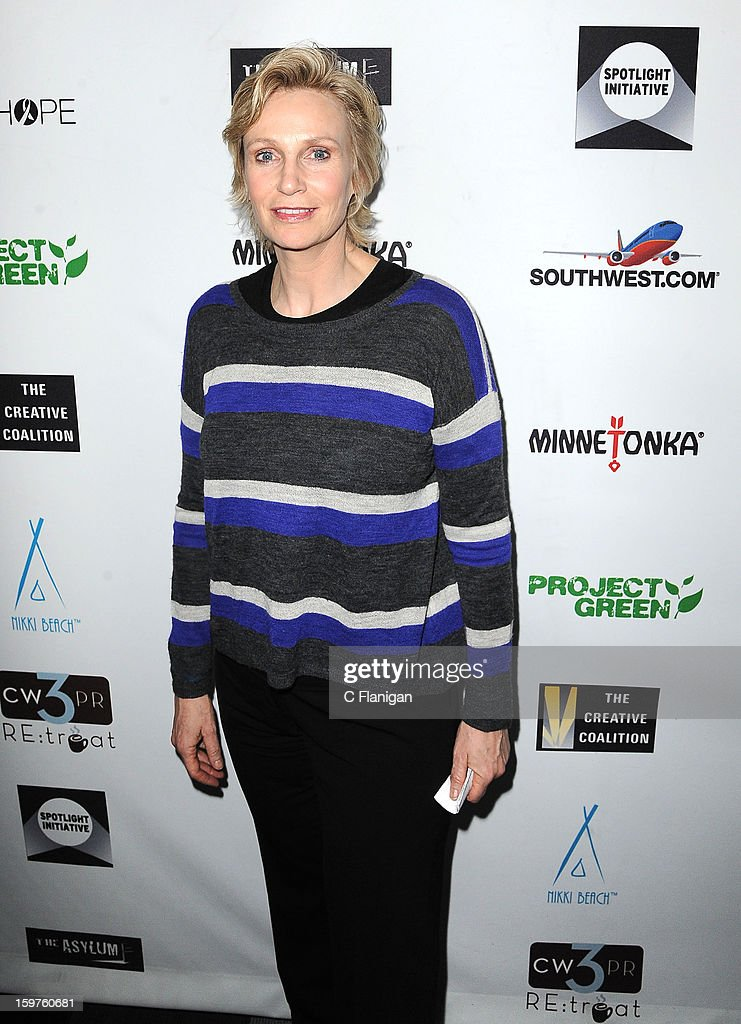 <a gi-track='captionPersonalityLinkClicked' href=/galleries/search?phrase=Jane+Lynch&family=editorial&specificpeople=663918 ng-click='$event.stopPropagation()'>Jane Lynch</a> arrives at The Creative Coalition Spotlight Initiavtive Awards Gala during the 2013 Sundance Film Festival at The Sky Lodge on January 19, 2013 in Park City, Utah.
