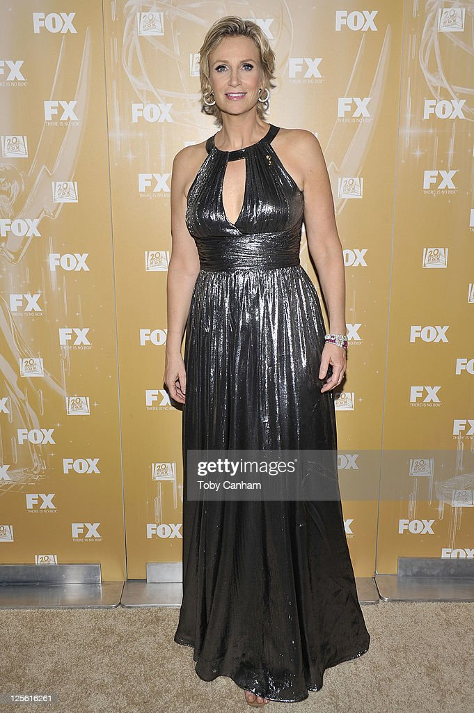 Jane Lynch arrives for the Fox Broadcasting Company, Twentieth Century Fox Television And FX 2011 Emmy after party on September 18, 2011 in West Hollywood, California.
