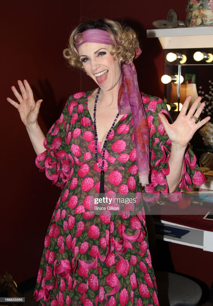 Jane Lynch as 'Miss Hannigan' poses backstage at 'Annie' on Broadway at The Palace Theater on May 15 2013 in New York City
