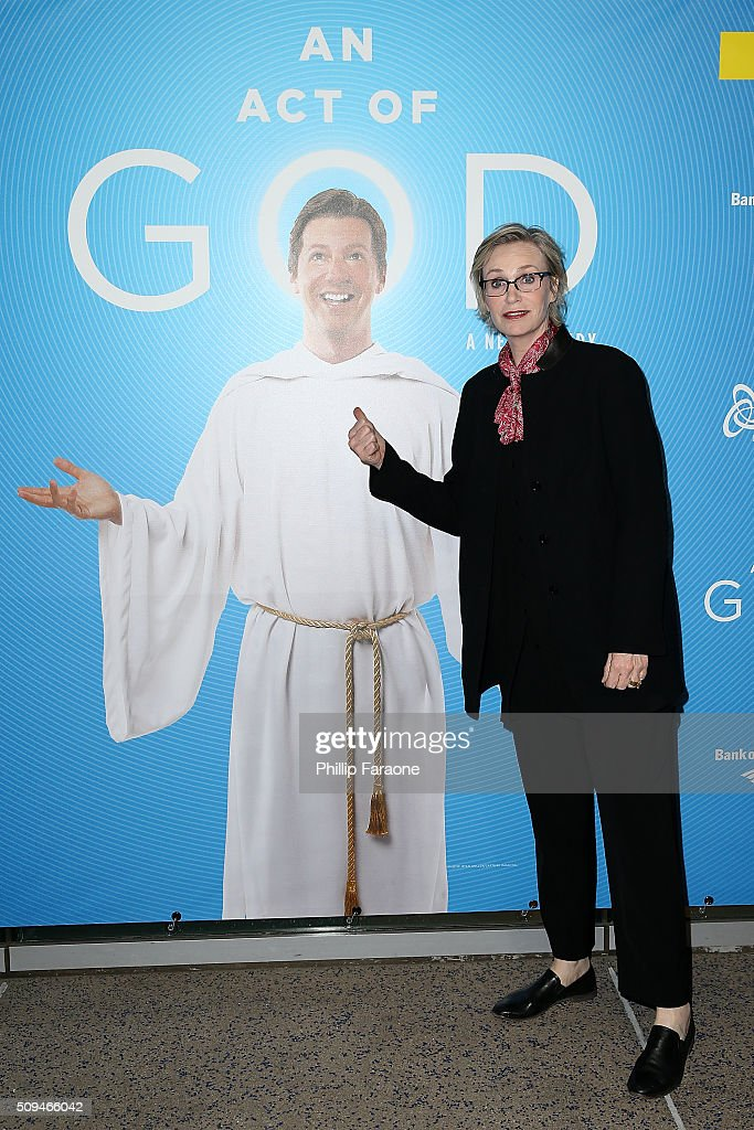 Jane Lynch attends opening night of 'An Act of God' at Ahmanson Theatre on February 10 2016 in Los Angeles California