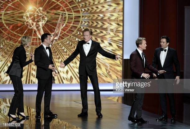 Jane Lynch Jimmy Kimmel Conan O'Brien Jimmy Fallon and host Neil Patrick Harris onstage during the 65th Annual Primetime Emmy Awards held at Nokia...