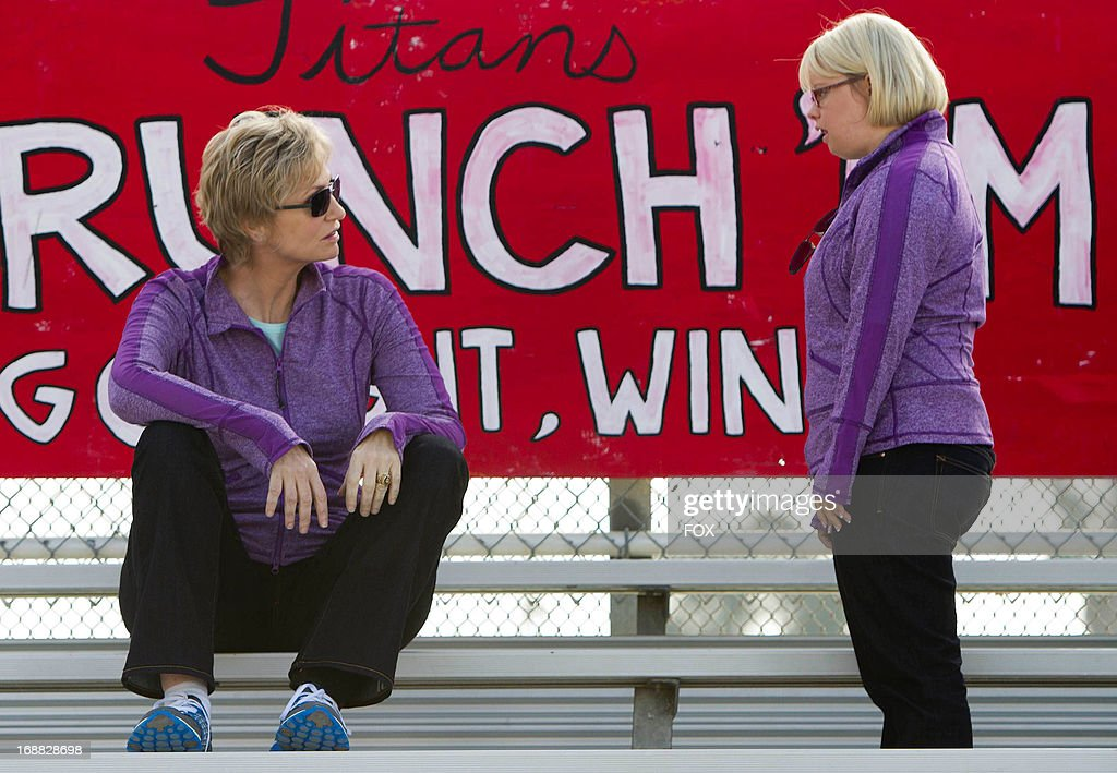 Jane Lynch Lauren Potter star in the 'Lights Out' episode of GLEE airing Thursday, April 25, 2013 (9:00-10:00 PM ET/PT) on FOX.