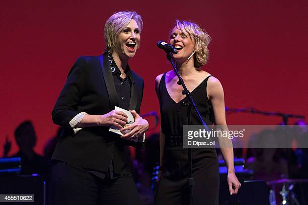 Jane Lynch performs on stage during Uprising Of Love A Benefit Concert For Global Equality at the Gershwin Theatre on September 15 2014 in New York...