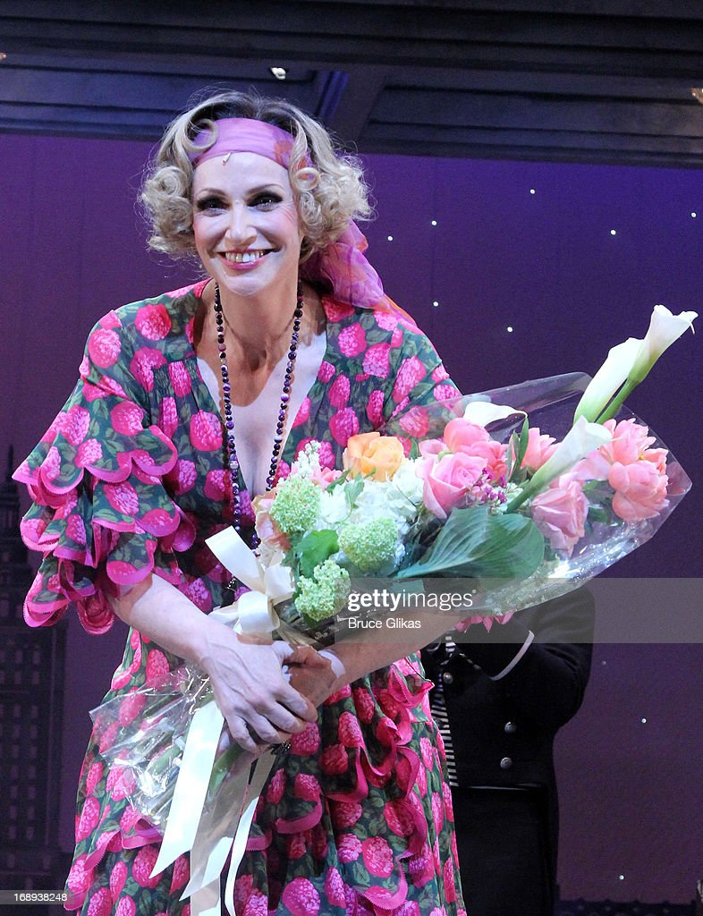 Jane Lynch takes her curtain call on her opening night in Broadway's 'Annie' at The Palace Theatre on May 16 2013 in New York City